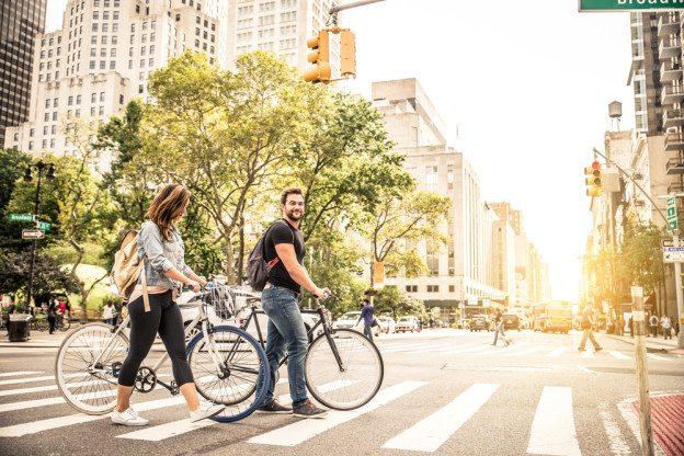 Bikers Crossing a street in midtown