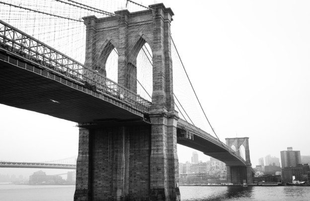 Brooklyn bridge on a foggy morning