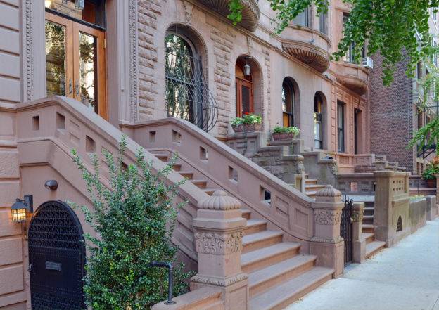 Row of Brooklyn brownstone apartments