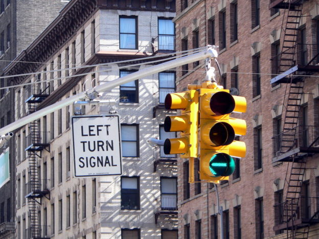Left Turn Traffic Light in NYC